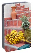 Bananas And Pineapple On Terracotta Steps Portable Battery Charger
