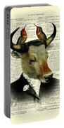 Banteng With Hummingbirds Portable Battery Charger