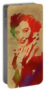 Barbara Stanwyck Watercolor Portrait Portable Battery Charger