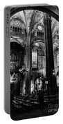 Barcelona Cathedral Interior Bw Portable Battery Charger