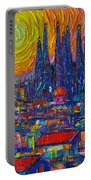 Barcelona Colorful Sunset Over Sagrada Familia Abstract City Knife Oil Painting Ana Maria Edulescu Portable Battery Charger