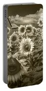 Barn And Sunflowers In Sepia Tone Portable Battery Charger