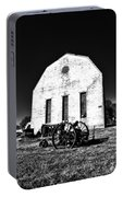 Barn And Tractor In Black And White Portable Battery Charger