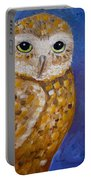 Barn Owl- Impressionism- Owl By Night Portable Battery Charger