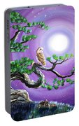 Barn Owl In Twisted Pine Tree Portable Battery Charger