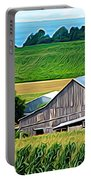 Barn Silo And Crops In Nys Expressionistic Effect Portable Battery Charger