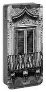Baroque Balcony Window. Messina, Sicily.    Black And White Portable Battery Charger