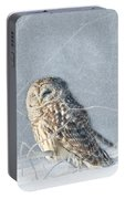 Barred Owl In The Snowstorm Portable Battery Charger