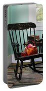 Basket Of Yarn On Rocking Chair Portable Battery Charger by Susan Savad