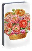 Basket With Ranunculus Flowers Watercolor Portable Battery Charger