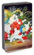 Basket With Summer Flowers Portable Battery Charger