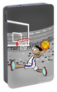 Basketball Player Jumping And Flying To Shoot The Ball In The Hoop Portable Battery Charger