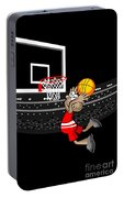 Basketball Player Jumping In The Stadium And Flying To Shoot The Ball In The Hoop Portable Battery Charger
