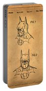 Batman Cowl Patent In Sepia Portable Battery Charger