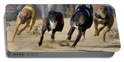 Battle Of The Racing Greyhounds At The Track Portable Battery Charger