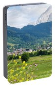 Bavarian Alps With Village And Flowers Portable Battery Charger
