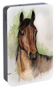Bay Horse Portrait Watercolor Painting 02 2013 Portable Battery Charger