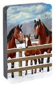 Bay Quarter Horses In Snow Portable Battery Charger