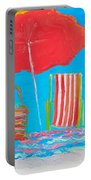 Beach Art - The Red Umbrella Portable Battery Charger