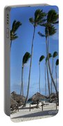 Beach Cabanas And Palm Trees Portable Battery Charger