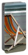 Beach Chair And Ocean Stripes Portable Battery Charger