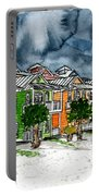 Beach Houses Watercolor Painting Portable Battery Charger