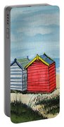 Beach Huts On The Sand Portable Battery Charger