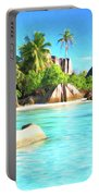 Beach On La Digue Seychelles Portable Battery Charger