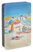 Beach Painting - Crowded Beach Portable Battery Charger