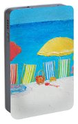 Beach Painting - Deck Chairs Portable Battery Charger