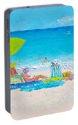 Beach Painting - Lazy Beach Day Portable Battery Charger