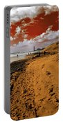 Beach Under A Blood Red Sky Portable Battery Charger