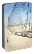 Beach Volleyball Net On The Sand At Long Beach, Ca Portable Battery Charger