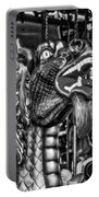 Bearded Dragon Ride Black And White Portable Battery Charger
