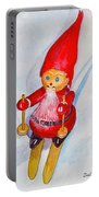 Bearded Elf On Skis Portable Battery Charger