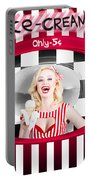 Beautiful Blonde Woman Serving Ice Cream Portable Battery Charger