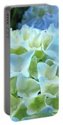 Beautiful Blue Hydrangea Floral Art Prints Creamy White Pastel Portable Battery Charger
