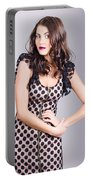 Beautiful Brunette Girl Wearing Retro Zipper Dress Portable Battery Charger