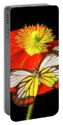 Beautiful Butterfly On Poppy Portable Battery Charger