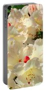 Beautiful Creamy White Pink Rhodies Floral Garden Baslee Troutman Portable Battery Charger