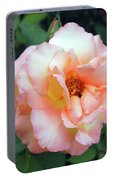 Beautiful Delicate Pink Rose On Green Leaves Background. Portable Battery Charger