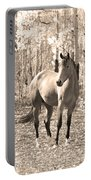 Beautiful Horse In Sepia Portable Battery Charger