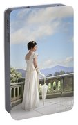 Beautiful Regency Woman Admiring The View From The Terrace Portable Battery Charger