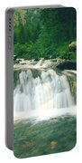 Beautiful River Flowing In Mountain Forest Portable Battery Charger