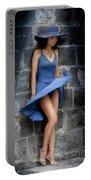 Beautiful Romantic Woman Standing Near A Stone Wall Portable Battery Charger