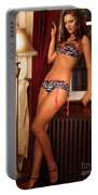 Beautiful Sexy Woman At A Window Portable Battery Charger