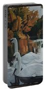 Beautiful Swans Moving In The River Path Portable Battery Charger