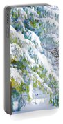 Beautiful Trees Covered With Snow In Winter Park Portable Battery Charger