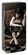 Beautiful Vintage Fashion Girl In Grunge Interior Portable Battery Charger by Jorgo Photography - Wall Art Gallery