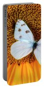 Beautiful White Butterfly On Sunflower Portable Battery Charger